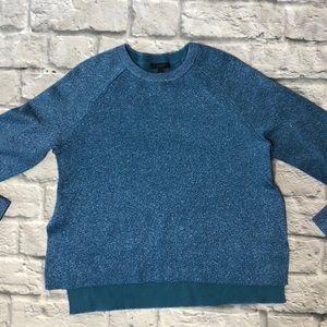 J. Crew metallic blue sweater w side slits